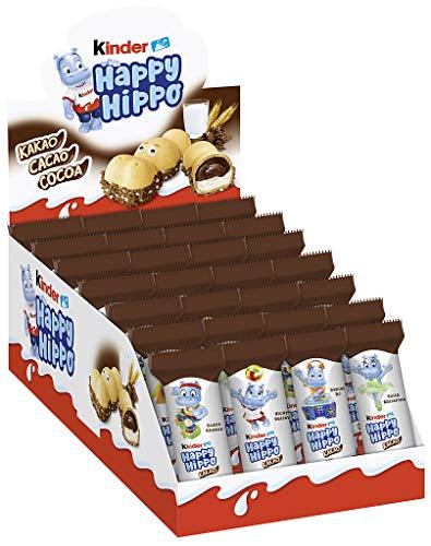 kinder Happy Hippo cacao -Thekendisplay mit je 28 Einzelriegeln, knusprige Waffel-Riegel mit Milch- und Kakaocreme
