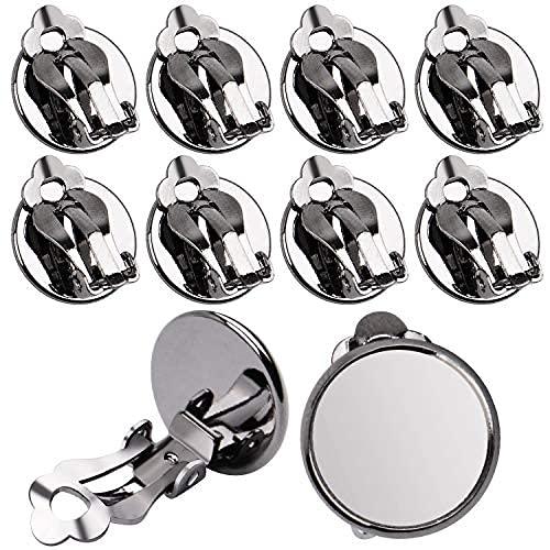Aylifu - Convertitori per orecchini, 20 pezzi (10 paia), piatti e rotondi, 12 mm, per orecchini senza foro, colore: nero canna di fucile