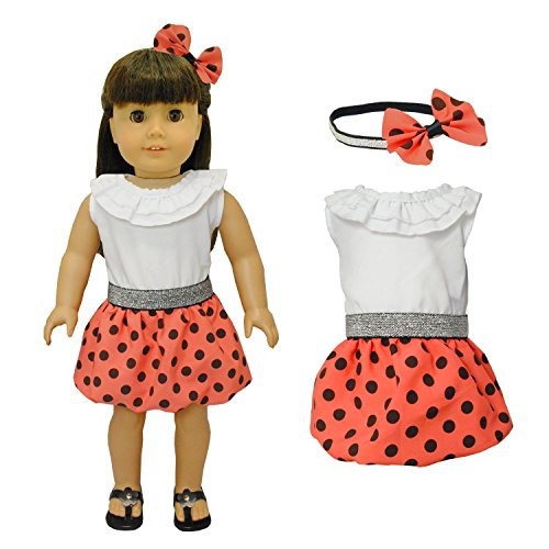 Pink Butterfly Closet Doll Clothes - Red Polka Dots Dress with Head Band Set Fits American Girl Doll and 18 inch Dolls