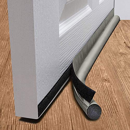 Taylor & Brown One Sided Door Draft Excluder Self-Adhesive Tape Draught Insulator Strip Foam Seal Fits to Bottom of Door Under Door Draft Stopper 90cm Long (Grey)
