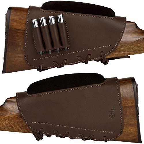 BRONZEDOG Waterproof Leather Buttstock Catrige Holder Cheek Rest Hunting Rifle Scope Cover .30-30 .308 Caliber