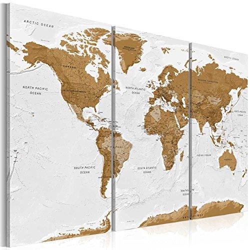murando Handart Cuadro en Lienzo Mapamundi 135x90 3 Piezas Cuadros Decoracion Salon Modernos Dormitorio Impresión Pintura Moderna Arte - Geografia Mapa del Mundo k-A-0104-b-f