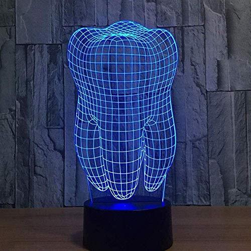 JF-XUAN Lámparas ilusión 3D Night Lights Diente mesa LED modernos Escritorio cambio de 7 colores táctil interruptor de carga USB Iluminación en la alcoba principal lámpara decorativa