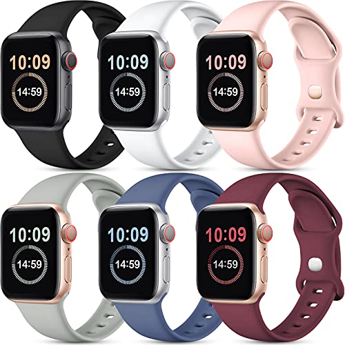 [6 Pack] SNBLK Compatible with Apple Watch Bands 44mm 42mm 40mm 38mm, Soft Silicone Sport Strap Compatible for iWatch Series 6 5 4 3 2 1 SE, (Black/Blue Gray/White/Pink/Gray/Wine Red) 38mm/40mm