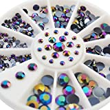 Sindy 4Größen schwarz AB Acryl Strass Kristall Nail Supplies Glitter Gems rund Rad Nail Art...