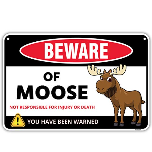 Venicor Moose Sign - 8 x 12 Inches - Aluminum - Moose Decor Wall Art - Moose Gifts for Women - Moose Head Wall Mount Home Lovers Stuffed Animal Tin Yard Outdoor Kitchen Accessories Keychain Stuff