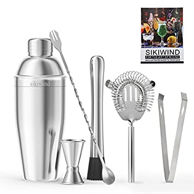 Cocktail Shaker Set 7 Piece Stainless Steel SIKIWIND Bar Set Accessories - Bartenders 25 Oz Martini Shaker With Measuring Jigger, Mixing Spoon,Drink Muddle,Strainers and Ice Tongs + Drink Recipe