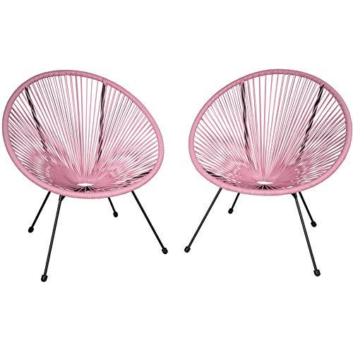 TecTake 800729 2er Set Acapulco Garten Stuhl, Lounge Sessel im Retro Design, Indoor und Outdoor, pflegeleicht, Relaxsessel zum gemütlichen Sitzen - Diverse Farben - (Pink | Nr. 403304)