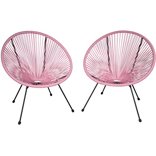 TecTake 800729 Set of 2x Chairs Acapulco, Circular Loungers, Retro Look, Robust Steel Frame, Garden Furniture, Outdoor Indoor Terrace (Pink | No. 403304)
