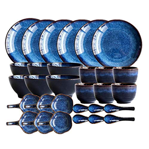 GAXQFEI Cerámicas de Vajilla, 30's Eye Placas de Color Azul Piezas de Gato Y Juegos de Cuencos para Restaurante/Horno de Cambio Esmalte de Porcelana Vajilla Seguro para Microondas