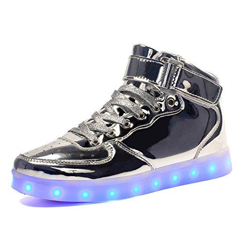 Voovix Kinder High-top LED Licht Blinkt Sneaker mit Fernbedienung-USB Aufladen Led Schuhe für Jungen und Mädchen (Silber, EU25/CN25)