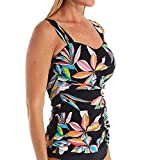 Profile by Gottex Women's Sweetheart Cup Sized Tankini Top Swimsuit, Paparazzi Multi Black, 40E