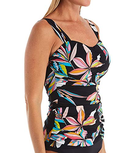 Profile by Gottex Women's Sweetheart Cup Sized Tankini Top Swimsuit, Paparazzi Multi Black, 38D