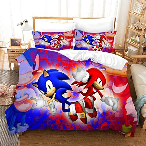 GDGM Kinderbettwäsche Sonic Anime Bettbezug Bettwäsche Set - Bettbezug Und Kissenbezug,3D Bettwäsche Mikrofaser Jungen Bettwäsche 2 Stück (A10,220x240cm+80x80cmx2)