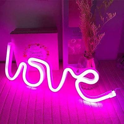 Neon Love Signs Light LED Love Art Dorm Decor Sign-Wall Decor-Table Decor for Valentine's Gift Girls Room Kids Room Living Room House Bar Pub Hotel Beach Recreational Battery or USB Powered Light