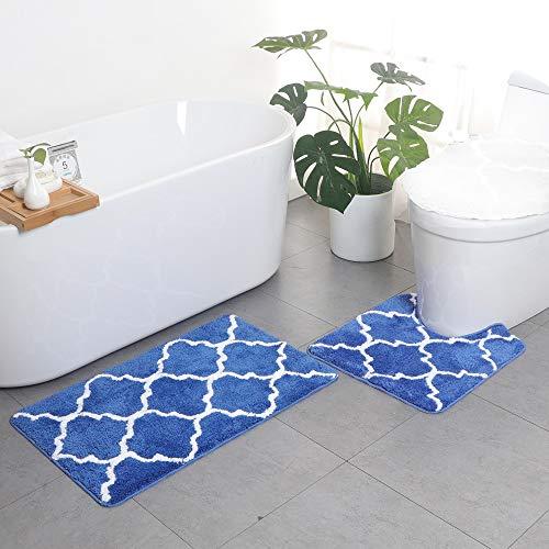 Alfombra Baño Juego de 2 piezas, Suave Microfibra Antideslizante 50x80cm Alfombrilla Baño y 50x50cm Alfombra de baño en forma de U, Patrón geométrico Absorbente de agua Alfombras Baño (Azul real)