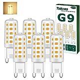 Bombilla LED G9 4W, Blanco Cálido 3000K, Equivalente a 40W Lampara Halógena, 400LM, 360° de Haz Omnidirectional, Sin Parpadeos, No Regulables AC220-240V, Pack de 6 Unidades