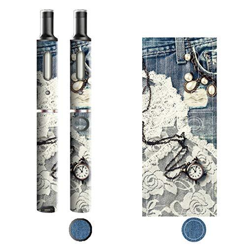 電子たばこ タバコ 煙草 喫煙具 専用スキンシール 対応機種 プルームテックプラスシール Ploom Tech Plus シール Jeans デニム モチーフコレクション 01 レース&パール 21-pt08-2131
