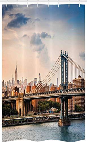 ABAKUHAUS Vereinigte Staaten von Amerika Schmaler Duschvorhang, Manhattan-Brücke in New York City, Badezimmer Deko Set aus Stoff mit Haken, 120 x 180 cm, Grau Tan