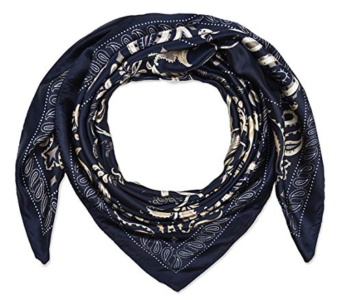 Corciova 35' Women's Polyester Silk Feeling Square Hair Scarf Headscarf Prussian Blue Tree Pattern