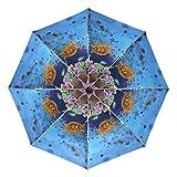 LUPINZ Regenschirm mit tropischen Fischen, zum Tauchen, automatischer Öffnen, mit schwarzem...