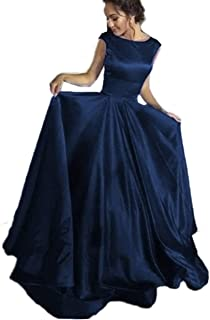 Long Satin Ball Gown Prom Dresses Scoop Cap Sleeves Backless Formal Evening Gowns for Women