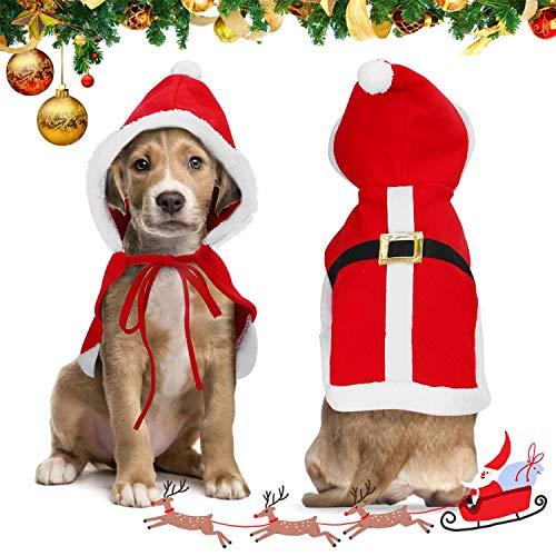 Nobleza Vestito Natale Gatto Cane, Costume Natalizio per Gatto Regolabili, Vestiti Svegli del Gatto del Cane di Babbo Natale Santa Rosso, Xmas Outfit per Cani e Gattino Dolce Regalo