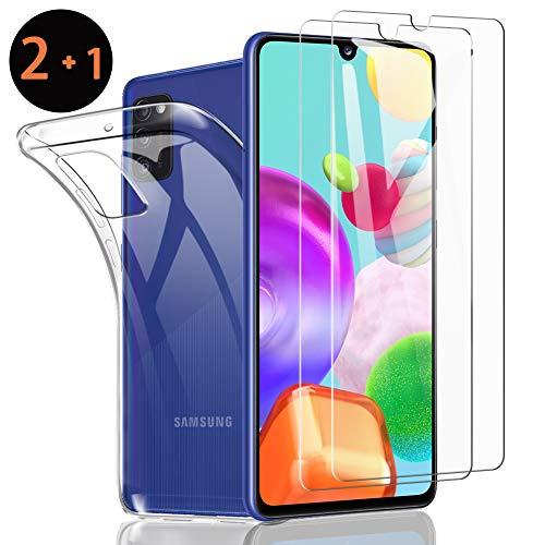 SHINEZONE [2 Stück+Hülle Panzerglas und Handyhülle für Samsung Galaxy A41 Mit 【9H】 Härte Anti-Kratz-, Anti-Öl- und blasenfreie Handy-Schutzfolie [Hülle Genaue Lochposition] [Kompatibel mit Hülle]