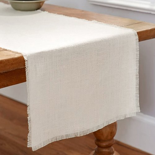 Firefly Imports Linen Table Runner with Fringe Edge, 12-1/2-Inch x 120-Inch