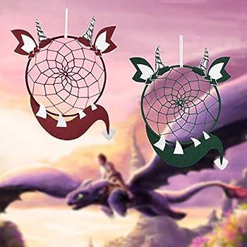 DrCor Dragon Dream Catcher for Boys Kids Set of 2 Handmade Green Red Dreamcatcher for Bedroom Teepee Nursery Decor