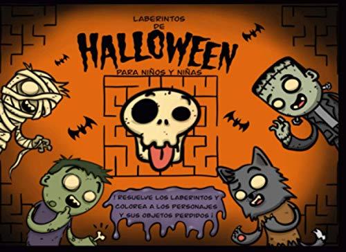Laberintos de Halloween para niños y niñas: Resuelve los laberintos y colorea los personajes y sus objetos perdidos