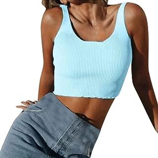 Women Summer Vest Sexy Casual U-Neck Tank Sleeveless Short Tee Shirt Crop Top