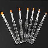 Aiming 7PCS manucure Gel UV Pinceau en Acrylique Transparent Cristal poignée Nail Art Dessin Peinture Outils Pinceau photothérapie