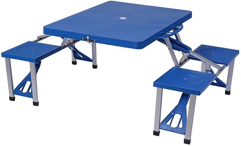 Generic  Le CH Plastique Pliable IC Table. extérieur en Aluminium Table de Pique-Nique Table de Pique-Nique Chaises S Outdoo BBQ Ing BBQ Portable Camping Camping BBQ