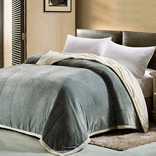 ZI LING SHOP- Double couverture de flanelle épaisse unique solide couleur couverture hiver Coral mariage double couverture blanket (Couleur : Vert, taille : 150x200cm)