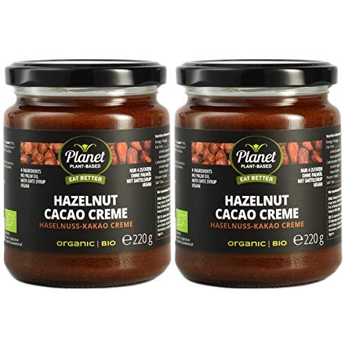 Planet Plant-Based Bio Haselnuss Kakao Creme – Leckere, Vegane Kakaocreme Aus 4 Natürlichen Zutaten - Ohne Zusatzstoffe Oder Zugabe von Raffiniertem Zucker – Mit Dattelsirup Gesüßt – 2x220 Gramm