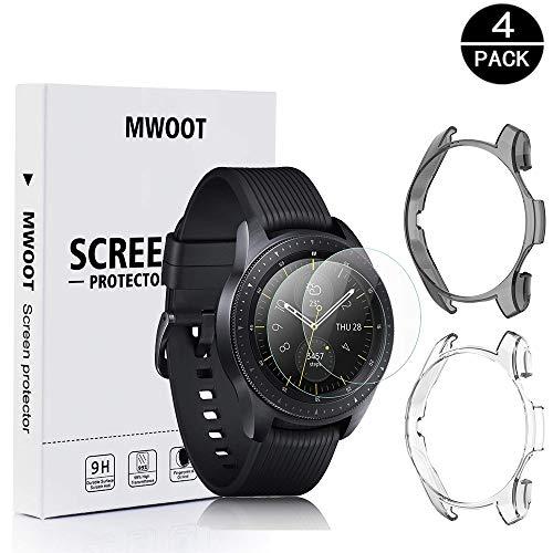 MWOOT 2 Unidades Funda y 2 Unidades Protectores Cristal Templado Compatible con Samsung Galaxy Watch 46MM y Samsung Gear S3 Frontier (NO para Classic), Anti-caída Silicona Carcasas Blanco y Negro