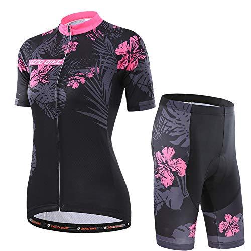 Damen Atmungsaktiv Schnelltrocknend Fahrradtrikot Set, Outdoor Kurzarm Radsport-Shirt + 3D Gel Gepolsterte Kurze Hose Fahrradhose, XL, Azalee
