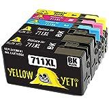 Yellow Yeti Reemplazo para HP 711 711XL Cartuchos de Tinta compatibles con HP DesignJet T120 T520 (2 Negro + 1 Cian + 1 Magenta + 1 Amarillo)