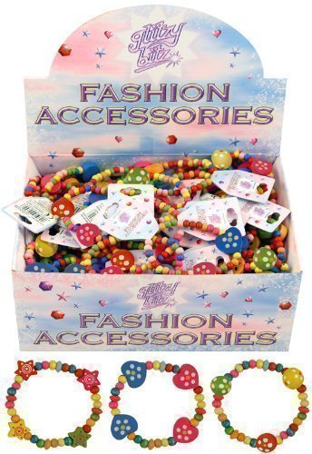 12 x Pretty Girls Wooden Bead Bracelets Party Bag Fillers Heart Stars by Henbrant