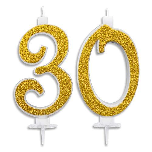 Candeline Maxi 30 Anni per Torta Festa Compleanno 30 Anni | Decorazioni Candele Auguri Anniversario Torta 30 | Festa a Tema | Altezza 13 CM Glitter Blu o Oro (Oro)