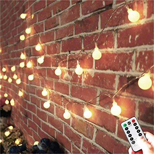 AMARS Battery Operated Globe String Lights with Remote Control 33FT LED Twinkle Ball Fairy Lights Room Wall Hanging Decorative Lighting for Christmas Bedroom Patio Indoor Outdoor (Warm White)