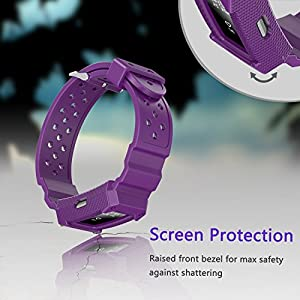 Lwsengme Bands Compatible with Fitbit Charge 2, X4-TECH Classic Fitness Replacement Accessories Wrist Band Compatible with 2016 Fitbit Charge 2 HR (New-Purple)
