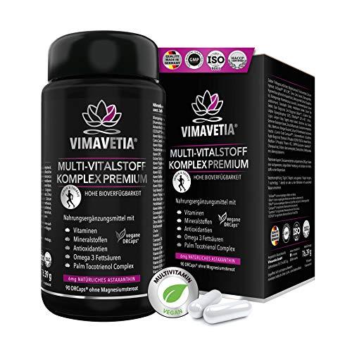 VIMAVETIA MULTI-VITALSTOFF KOMPLEX PREMIUM- Astaxanthin 6mg, Omega 3 vegan, Vitamin D3 K2, C, B, Tocotrienol, Immunsystem stärken, Multivitamin vegan, Kollagen Booster Vegan, 90 Multivitamin Kapseln