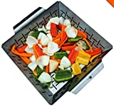 Cave Tools Vegetable Grill Basket - Dishwasher Safe Stainless Steel - Large Non Stick BBQ Grid Pan...