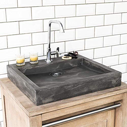 Magnus Home Products Belzoni Rectangular Cast Concrete Vessel Bathroom Sink, Dusk Grey, 19 3/4' L x 17 7/8' W, 57.0 lb