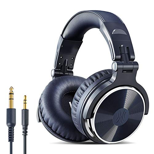 OneOdio Headphones 50mm Driver Wired DJ Monitor Headphones Sealed Over Ear Headphones for Studio Recording Instrument Practice Mixing TV Watching Movie Games (Pro10-Navy)
