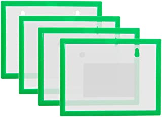 """8 Pack Magnetic Sign Picture Holder in A6 Size - 5.8"""" x 4.1"""", Portable Document File Photo Cases with Magnetic Back for Whiteboard/Cabinet/Fridge, Green"""