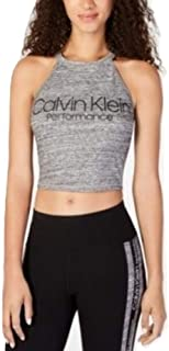Calvin Klein Performance Logo Cropped Halter Top Charcoal Large