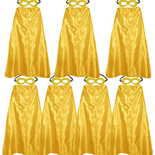 Superhero Capes and Masks for Adults Bulk – Men Women Super Hero Costume Halloween Vampire Dress Up Party Favors – 7 Pack (Gold)